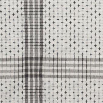 コットン×チェック(ライトグレー&グレー)×刺し子 サムネイル1