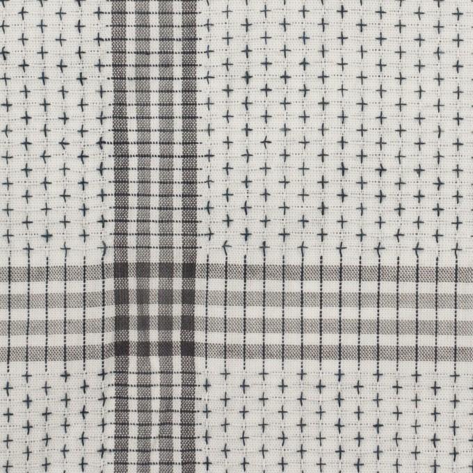 コットン×チェック(ライトグレー&グレー)×刺し子 イメージ1