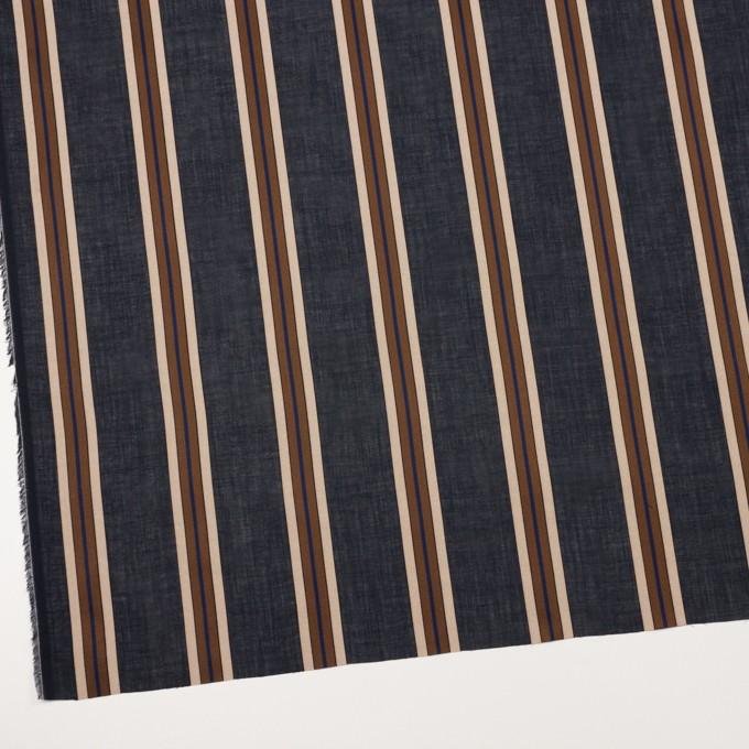 コットン×ストライプ(ネイビー&モカブラウン)×ボイルジャガード イメージ2