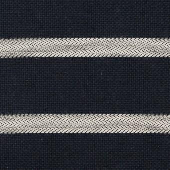 コットン×ボーダー(ネイビー&アイボリー)×斜子織