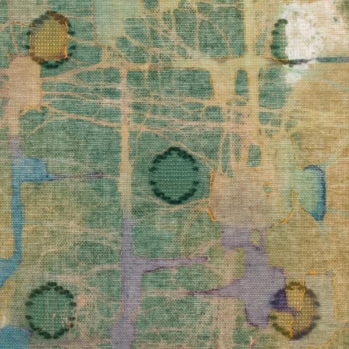 コットン×ペイント(オーカー)×ボイルカットジャガード イメージ1