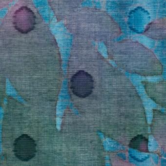コットン×ペイント(エメラルドブルー)×ボイルカットジャガード_全2色 サムネイル1