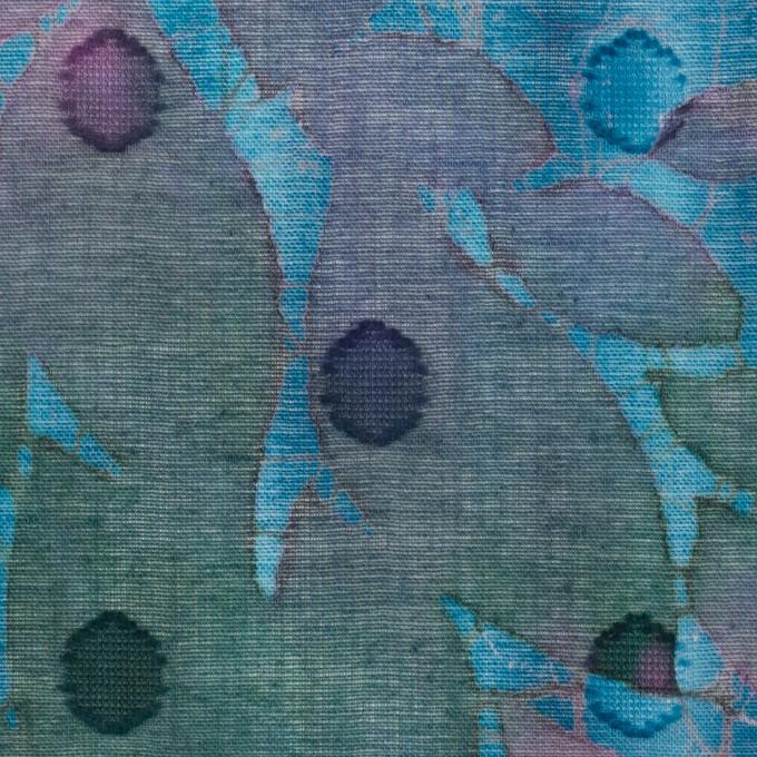 コットン×ペイント(エメラルドブルー)×ボイルカットジャガード_全2色 イメージ1
