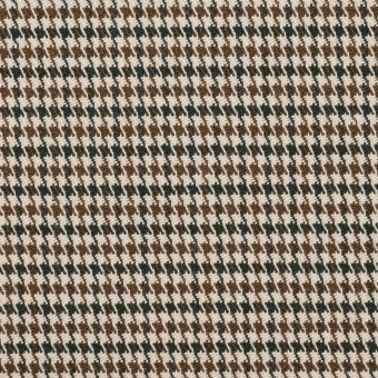 コットン&ポリウレタン×チェック(モカブラウン)×千鳥格子ストレッチ