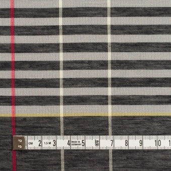 コットン&ポリエステル混×チェック(グレー&カーキグリーン)×ボイル_パネル サムネイル4