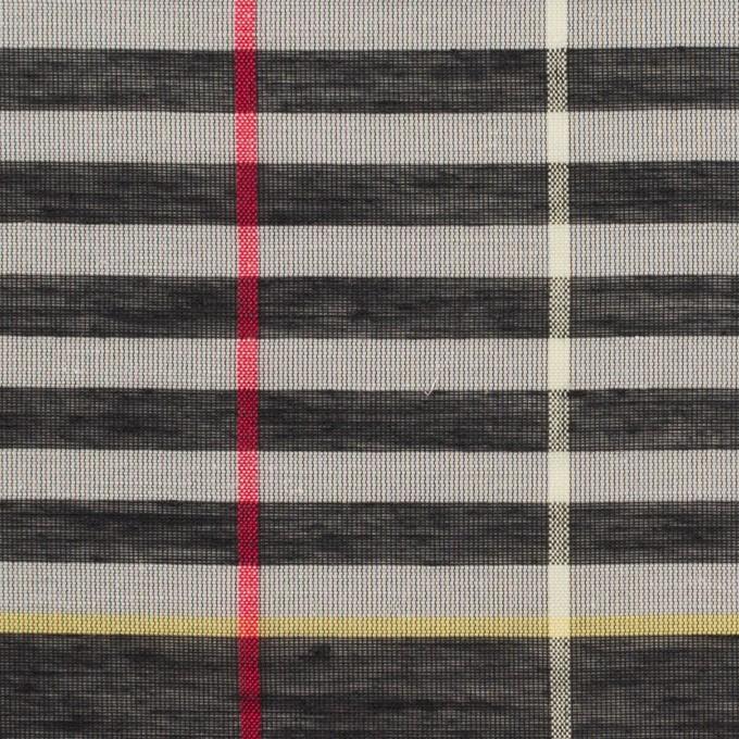 コットン&ポリエステル混×チェック(グレー&カーキグリーン)×ボイル_パネル イメージ1