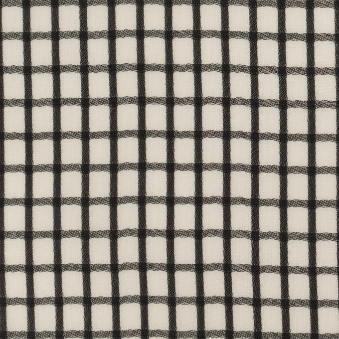 ポリエステル×チェック(エクリュ&ブラック)×ジョーゼット・ジャガード イメージ1