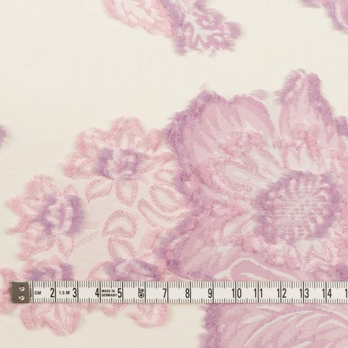 レーヨン&ポリエステル混×フラワー(クリーム&モーブ)×デシンカットジャガード_全2色 イメージ4