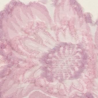 レーヨン&ポリエステル混×フラワー(クリーム&モーブ)×デシンカットジャガード_全2色 サムネイル1