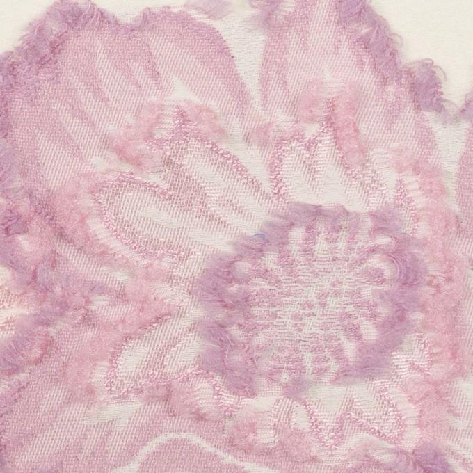 レーヨン&ポリエステル混×フラワー(クリーム&モーブ)×デシンカットジャガード_全2色 イメージ1