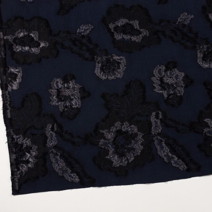 レーヨン&ポリエステル混×フラワー(ネイビー&グレー)×デシンカットジャガード_全2色 イメージ2