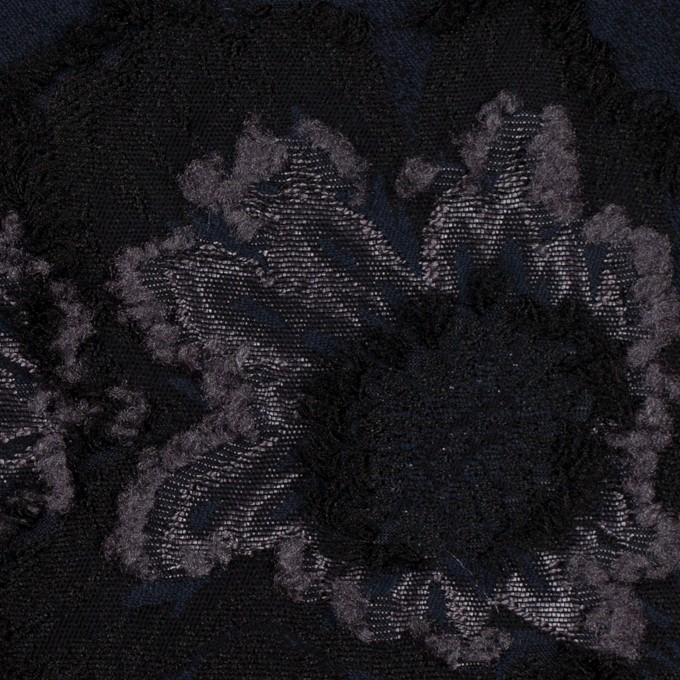 レーヨン&ポリエステル混×フラワー(ネイビー&グレー)×デシンカットジャガード_全2色 イメージ1