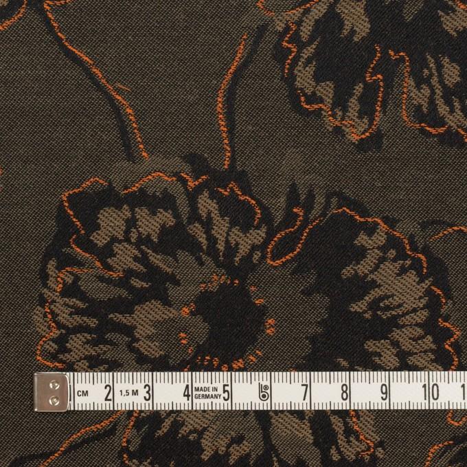 コットン&ポリエステル×フラワー(アッシュカーキグリーン&オレンジ)×ジャガード_全2色 イメージ4
