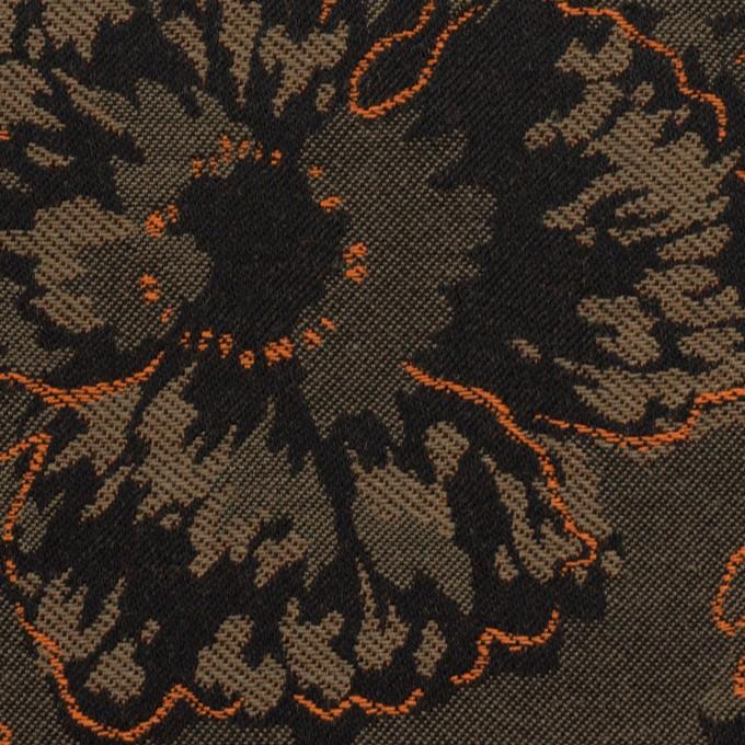 コットン&ポリエステル×フラワー(アッシュカーキグリーン&オレンジ)×ジャガード_全2色 イメージ1
