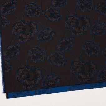 コットン&ポリエステル×フラワー(ダークブラウン&ブルー)×ジャガード_全2色 サムネイル2