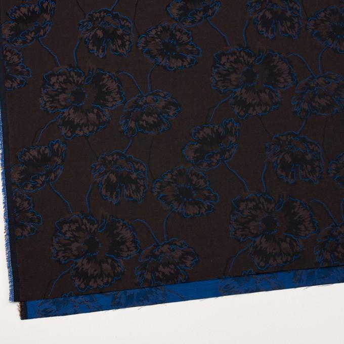 コットン&ポリエステル×フラワー(ダークブラウン&ブルー)×ジャガード_全2色 イメージ2