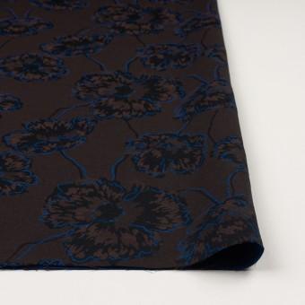 コットン&ポリエステル×フラワー(ダークブラウン&ブルー)×ジャガード_全2色 サムネイル3