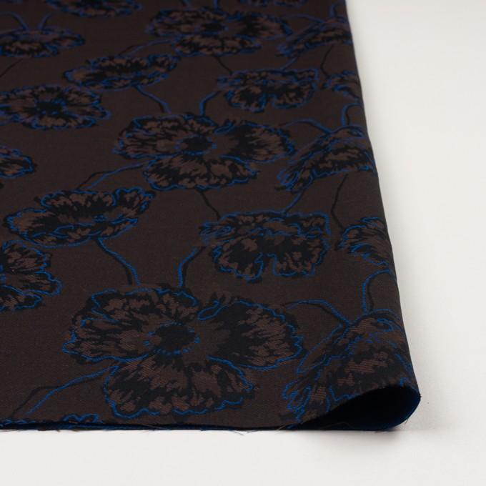 コットン&ポリエステル×フラワー(ダークブラウン&ブルー)×ジャガード_全2色 イメージ3