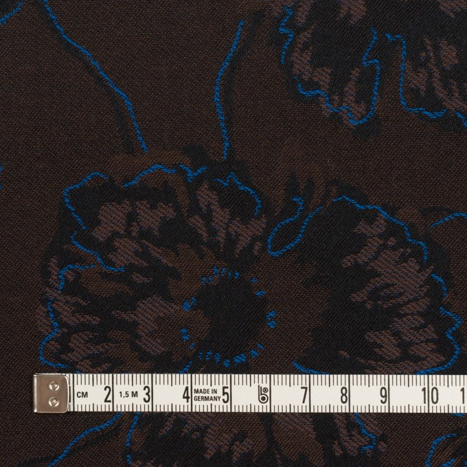コットン&ポリエステル×フラワー(ダークブラウン&ブルー)×ジャガード_全2色 イメージ4