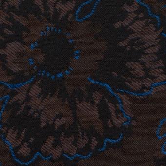 コットン&ポリエステル×フラワー(ダークブラウン&ブルー)×ジャガード_全2色 サムネイル1