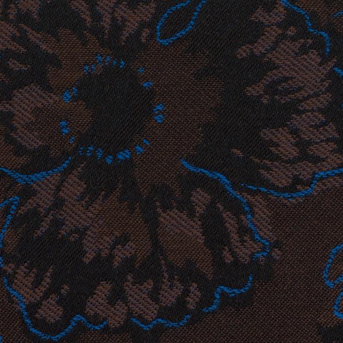 コットン&ポリエステル×フラワー(ダークブラウン&ブルー)×ジャガード_全2色 イメージ1