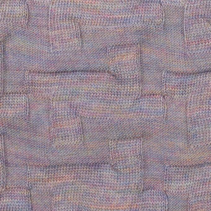 ウール&アクリル混×幾何学模様(モーブ)×ジャガードニット_全2色 イメージ1