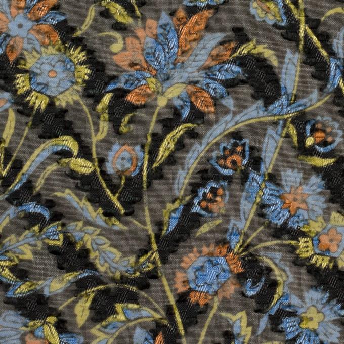 ポリエステル×フラワー(ブラック、サックス&オレンジ)×ジョーゼット・カットジャガード イメージ1