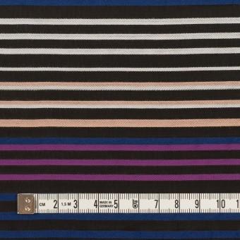 コットン&キュプラ×ボーダー(ブラック、パープル&プルシアンブルー)×ジョーゼット・ジャガード サムネイル4