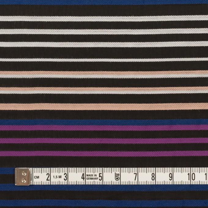 コットン&キュプラ×ボーダー(ブラック、パープル&プルシアンブルー)×ジョーゼット・ジャガード イメージ4