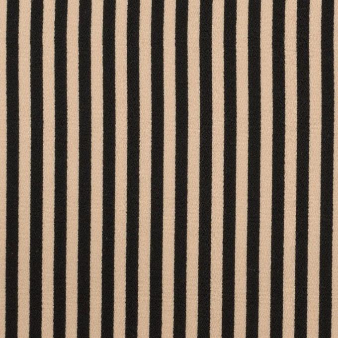 ポリエステル×ストライプ(ベージュ&ブラック)×ジョーゼット イメージ1