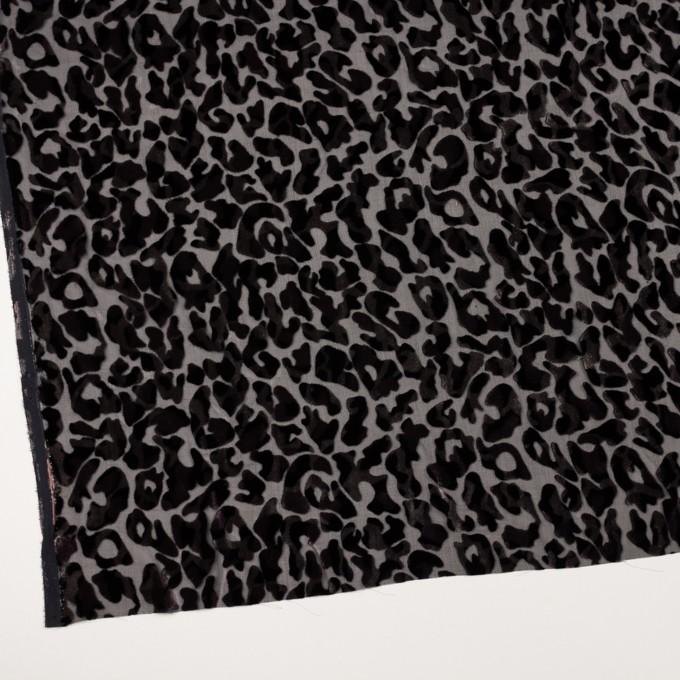 レーヨン&ポリエステル×レオパード(アッシュブラウン&ブラック)×オパールベルベット イメージ2