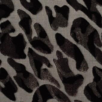 【180cmカット】レーヨン&ポリエステル×レオパード(アッシュブラウン&ブラック)×オパールベルベット