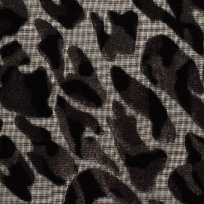 レーヨン&ポリエステル×レオパード(アッシュブラウン&ブラック)×オパールベルベット イメージ1