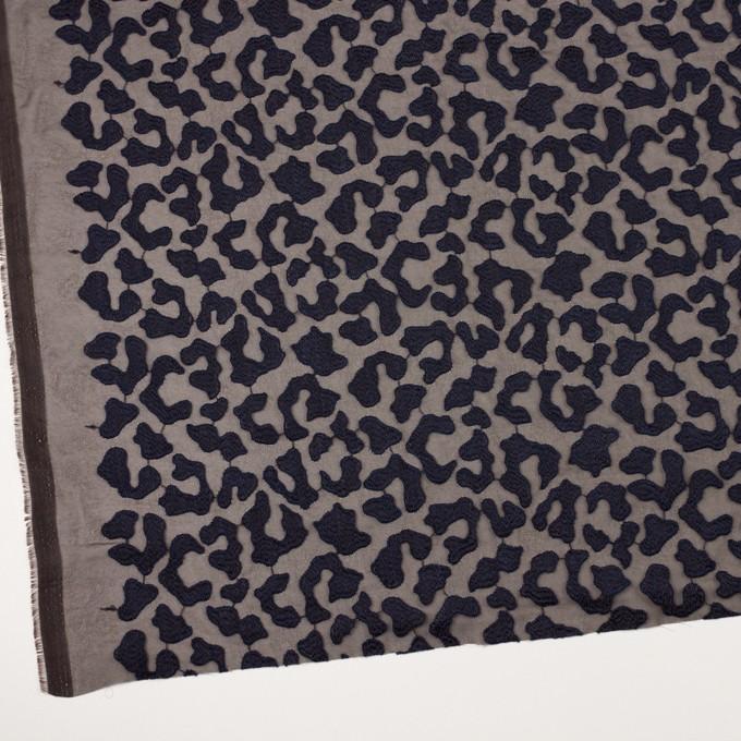 ポリエステル×レオパード(ブラウン&ネイビー)×ジョーゼット刺繍 イメージ2