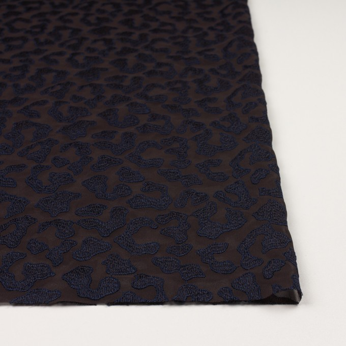 ポリエステル×レオパード(ブラウン&ネイビー)×ジョーゼット刺繍 イメージ3
