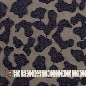ポリエステル×レオパード(ブラウン&ネイビー)×ジョーゼット刺繍 サムネイル4