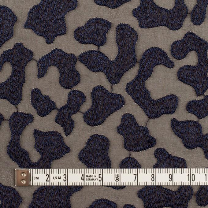 ポリエステル×レオパード(ブラウン&ネイビー)×ジョーゼット刺繍 イメージ4