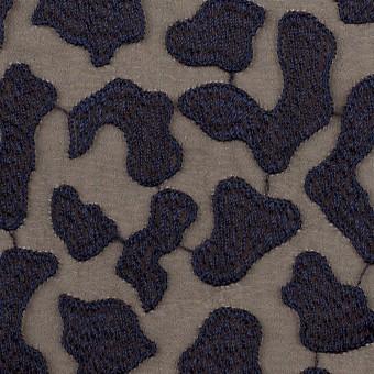 ポリエステル×レオパード(ブラウン&ネイビー)×ジョーゼット刺繍