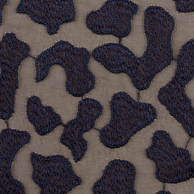 ポリエステル×レオパード(ブラウン&ネイビー)×ジョーゼット刺繍 イメージ1