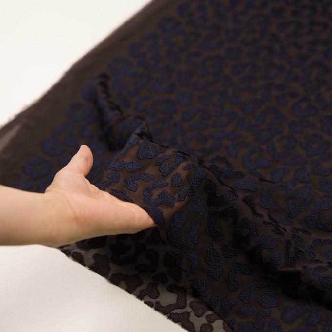 ポリエステル×レオパード(ブラウン&ネイビー)×ジョーゼット刺繍 イメージ5
