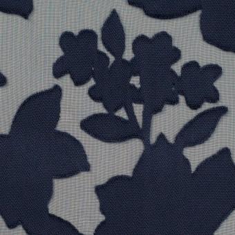 ポリエステル×フラワー(プルシアンブルー)×オパールジョーゼット_全2色 サムネイル1