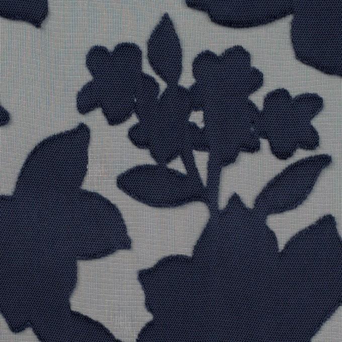 ポリエステル×フラワー(プルシアンブルー)×オパールジョーゼット_全2色 イメージ1