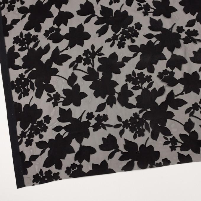 ポリエステル×フラワー(ブラック)×オパールジョーゼット_全2色 イメージ2