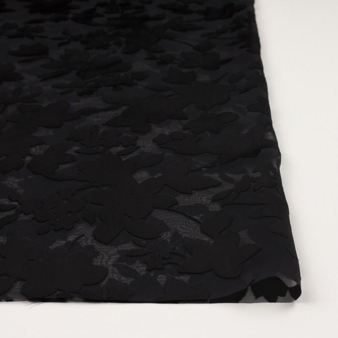 ポリエステル×フラワー(ブラック)×オパールジョーゼット_全2色 イメージ3