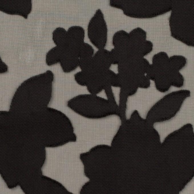 ポリエステル×フラワー(ブラック)×オパールジョーゼット_全2色 イメージ1