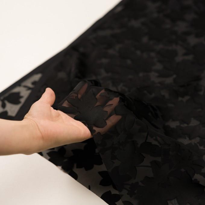 ポリエステル×フラワー(ブラック)×オパールジョーゼット_全2色 イメージ5