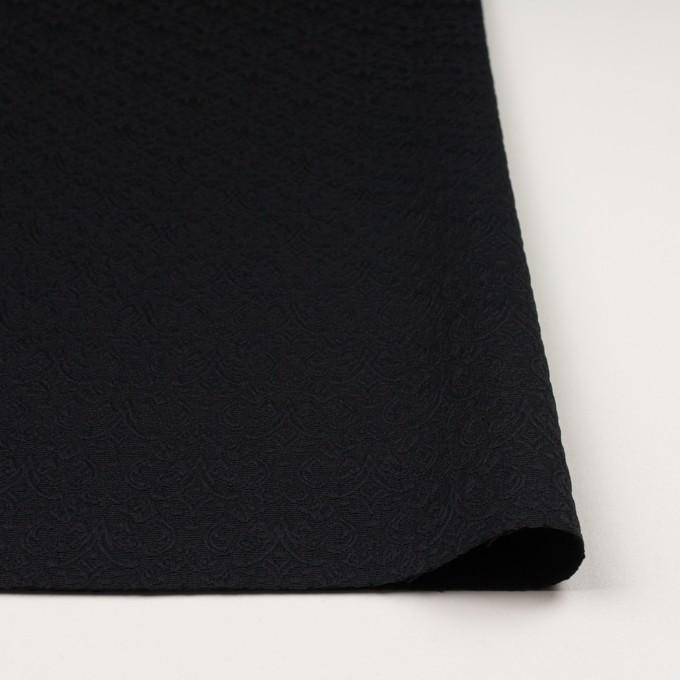 ポリエステル&ポリウレタン×幾何学模様(ブラック)×ジャガード・ストレッチ イメージ3
