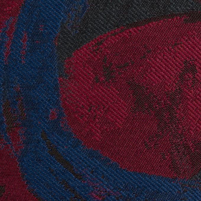 ポリエステル×幾何学模様(バーガンディー、マリンブルー&チャコール)×ジャガード イメージ1
