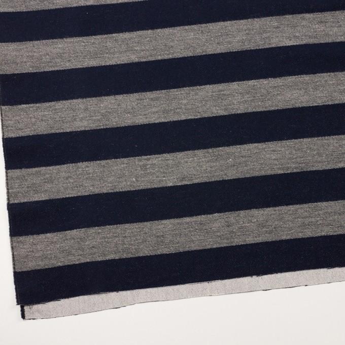 ウール&コットン×ボーダー(ネイビー&グレー)×二重織 イメージ2