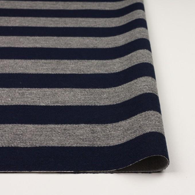 ウール&コットン×ボーダー(ネイビー&グレー)×二重織 イメージ3